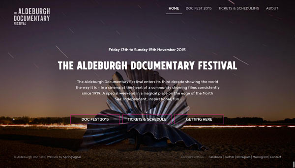 Screen shot of Aldeburgh Doc Fest website